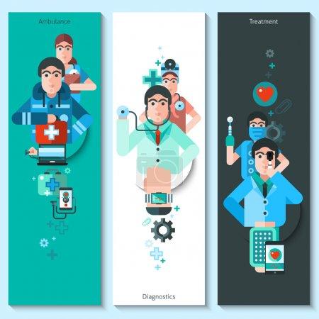 Illustration pour Ensemble de bannières verticales avec des personnages de médecin présentant des diagnostics ambulanciers et des illustrations vectorielles plates de traitement - image libre de droit