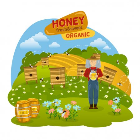 Illustration for Sweet organic honey concept with hives bees and fields flat vector illustration - Royalty Free Image