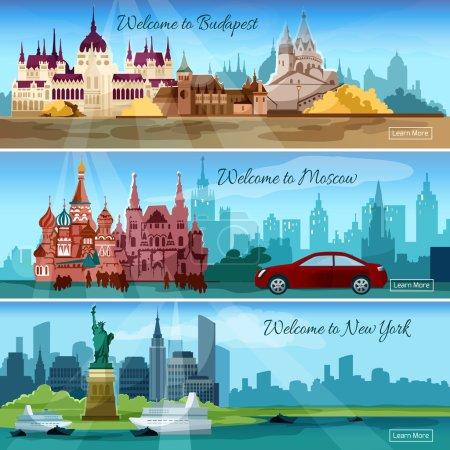 Photo pour Célèbres villes bannières horizontales serties de bâtiments touristiques budapest et moscou illustration vectorielle isolée - image libre de droit