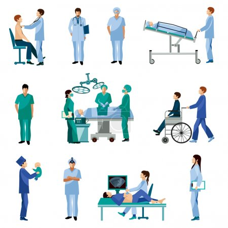 Illustration for Medical professionals at work in operation room flat icons set with obstetrician surgeon abstract isolated vector illustration - Royalty Free Image