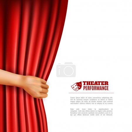 Illustration for Hand opening red theatre curtain with performance symbols realistic vector illustration - Royalty Free Image