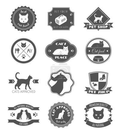 Pets place healthy food black symbols labels colle...