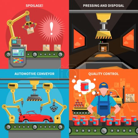 Illustration for Conveyor icons set with spoilage pressing and quality control symbols flat isolated vector illustration - Royalty Free Image