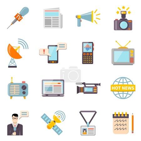 Mass media icons set with telecommunications radio...