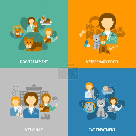 Veterinary clinic 4 flat icons square