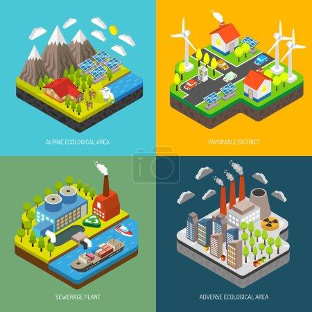 Illustration pour Pollution de l'environnement et protection de l'environnement grâce aux éoliennes panneaux solaires véhicules électriques énergies renouvelables et écotechnologies illustration vectorielle - image libre de droit