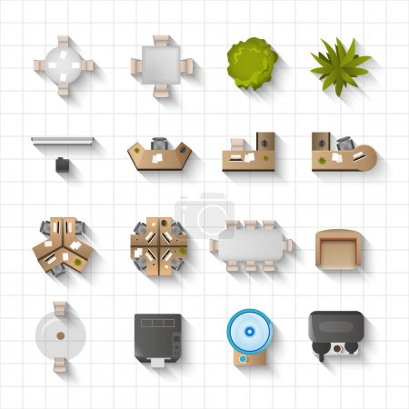 Illustration for Office interior furniture icons top view set isolated vector illustration - Royalty Free Image