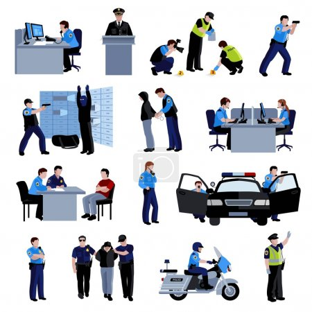 Illustration pour Les policiers au bureau et à l'extérieur avec la voiture de police et la situation arrestation du délinquant et interrogatoire des icônes de couleur plate mis vecteur isolé illustration - image libre de droit