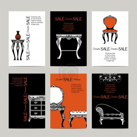 Hand Drawn Furniture  Banners In  Baroque Style