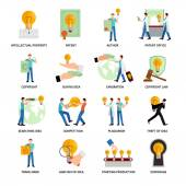 Intellectual property flat icons   set with author trademark copyright symbols isolated vector illustration
