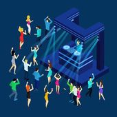 Dancing people with dance floor dj music and light isometric vector illustration