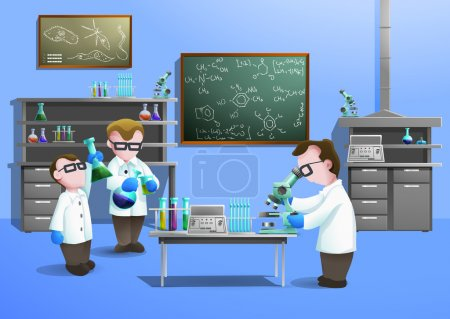 Illustration for Chemical laboratory  concept  with scientists using modern biotechnology vector illustration - Royalty Free Image