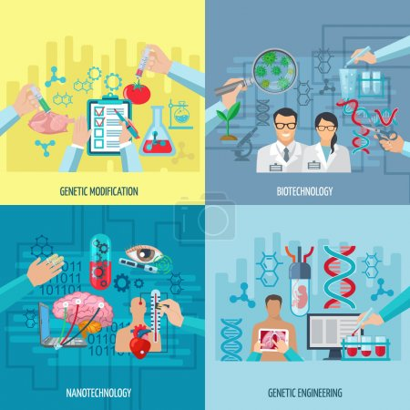 Illustration for Biotechnology icons concept composition of genetic engineering nanotechnology and genetic modification square elements flat vector illustration - Royalty Free Image