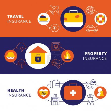 Illustration for Property travel cars and health insurance companies policy 3 horizontal flat banners set abstract isolated vector illustration - Royalty Free Image