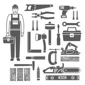 Carpentry Tools Black Silhouettes Icons Set