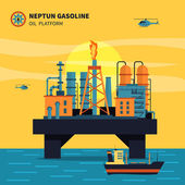 Oil platform for oil extraction with ship sea and helicopters flat vector illustration