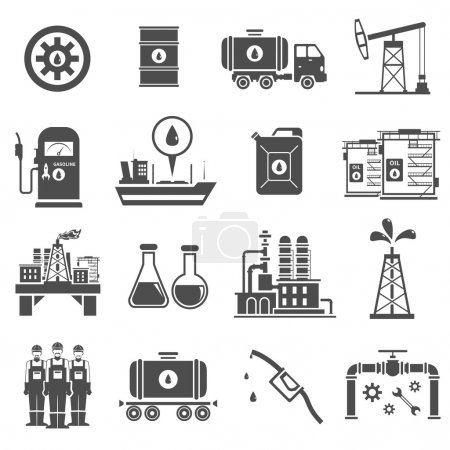 Oil Black White Icons Set