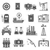 Oil Black White Icons Set