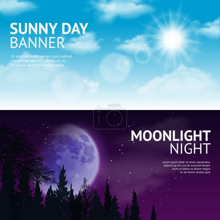 Illustration for Night and day horizontal banner set with sun and moon in sky isolated vector illustration - Royalty Free Image