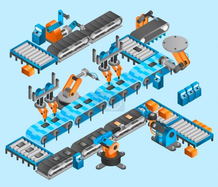 Illustration for Industrial robot concept with isometric conveyor line and robotic arm manipulators vector illustration - Royalty Free Image