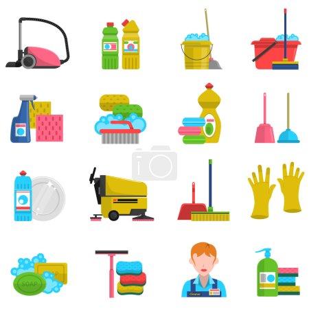 Illustration pour Icônes de nettoyage avec savon à vadrouille et gants illustration vectorielle isolée plate - image libre de droit