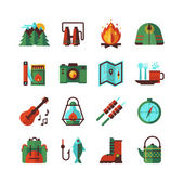 Camping hiking adventures accessories and attributes flat icons set with map compass and backpack abstract isolated vector illustration