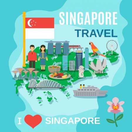 Singapore Travel National Symbols Poster
