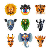 African Animals Heads Masks Flat Icons