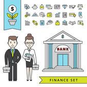 Wohnung Finance-Konzept mit Kaufmann und Bank