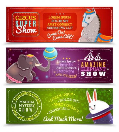 Illustration for Travelling chapiteau circus magical show flat horizontal banners set with performing sea lions abstract isolated vector illustration - Royalty Free Image