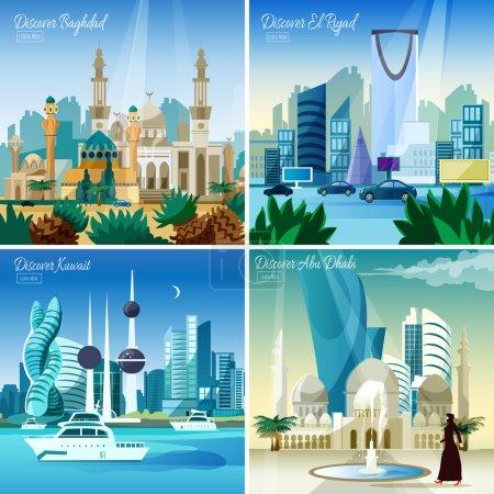 Photo pour Découvrir baghdad kuwait et abu dhabi plus grandes villes arabes 4 icônes plates composition carrée page web illustration vectorielle - image libre de droit