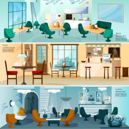Illustration pour Hôtel de luxe restaurant bar intérieur 3 bannières interactives plates pour la page d'accueil illustration vectorielle isolée abstraite - image libre de droit