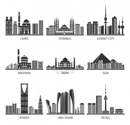 Eastern Cityscapes Landmarks Black Icons Collection