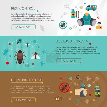 Pest Control Extermination 3 Flat Banners