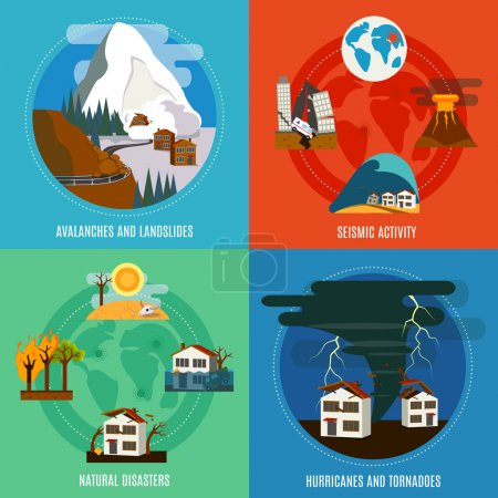 Illustration for Natural Disaster 4 flat icons square banner with seismic activity hurricanes and tornadoes abstract isolated vector illustration - Royalty Free Image