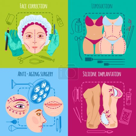 Illustration for Plastic surgery design concept set with face and body correction icons isolated vector illustration - Royalty Free Image