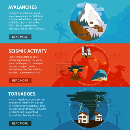 Illustration for Natural disasters flat horizontal banners set with avalanches seismic activity and tornadoes vector illustration - Royalty Free Image