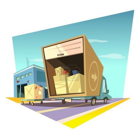 Ilustración de Concepto de almacén con camión de reparto de estilo retro y carro con ilustraciones vectoriales de cajas - Imagen libre de derechos