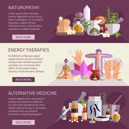 Illustration for Horizontal banners showing alternative medicine flat icons set       vector illustration - Royalty Free Image