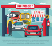 Gas station background with fuel worker cars and cafe flat vector illustration