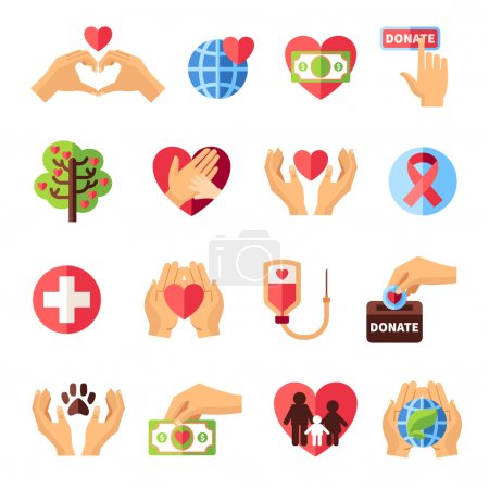 Illustration for Charity icons set with volunteering symbols flat isolated vector illustration - Royalty Free Image
