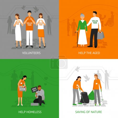 Illustration for Volunteers design concept set with people helping homeless and seniours isolated vector illustration - Royalty Free Image