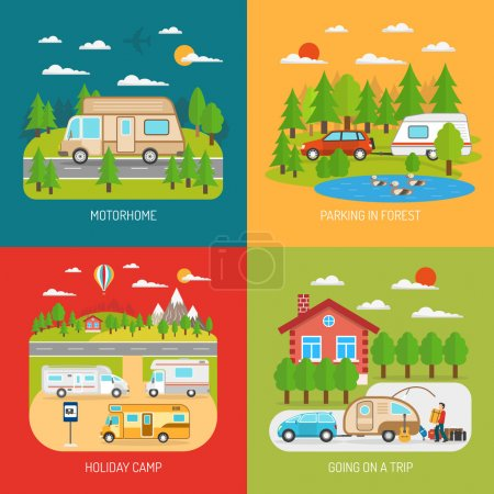 Motorhome Concept Icons Set