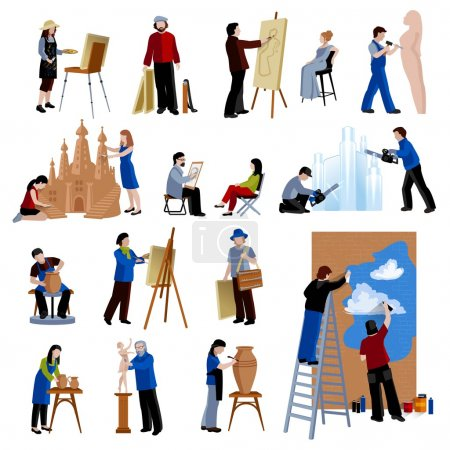 Illustration for Flat icons set of creative profession people like artist painter sculptor ceramist street art isolated vector illustration - Royalty Free Image
