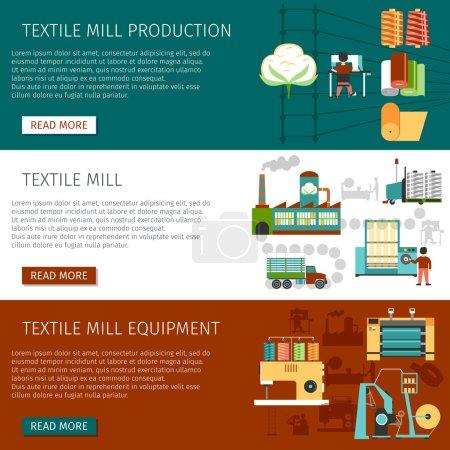 Illustration pour Information sur la production et l'emploi d'équipement d'usine de textile 3 bannières interactives plates de page de site Web placent l'illustration vectorielle isolée - image libre de droit