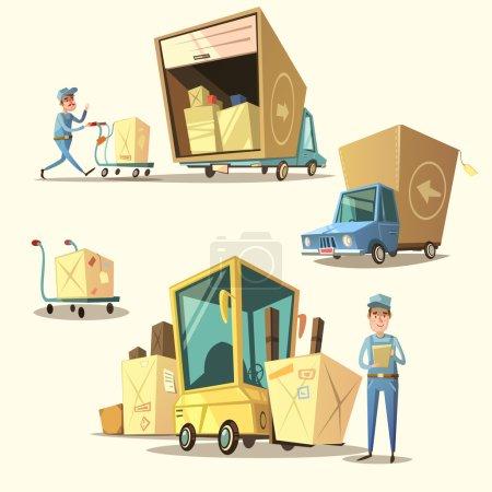 Illustration pour Ensemble de concept d'entrepôt avec expédition de bande dessinée rétro et articles de livraison illustration vectorielle isolée - image libre de droit