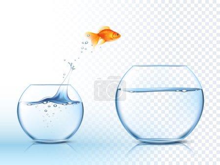 Illustration pour Poisson rouge sautant d'un bol à poisson à un autre aquarium avec de l'eau claire sur fond à carreaux clair illustration vectorielle affiche - image libre de droit