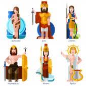 Flat Color Olympic Gods Icons Set