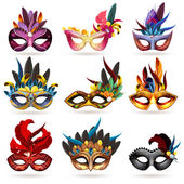 Mask realistic icons set with feathers and jewels isolated vector illustration
