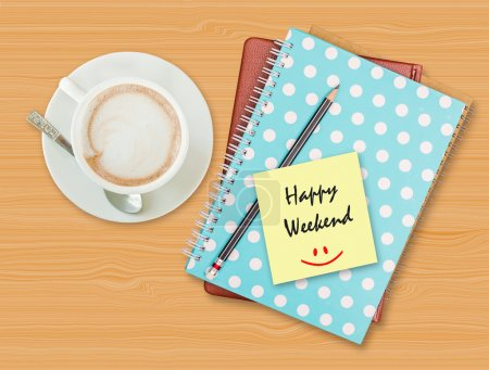Photo for Happy weekend and smile on blank paper with coffee cup on wood background - Royalty Free Image